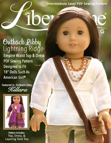 "Killara Dress and Lightning Ridge Top 18"" Doll Clothes Pattern"