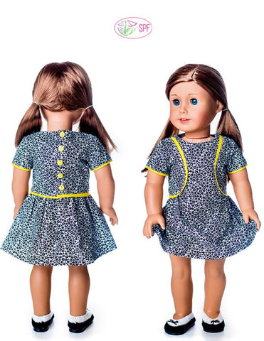 Lilibet Dress 18 Inch Doll Clothes Pattern Fits American Girl