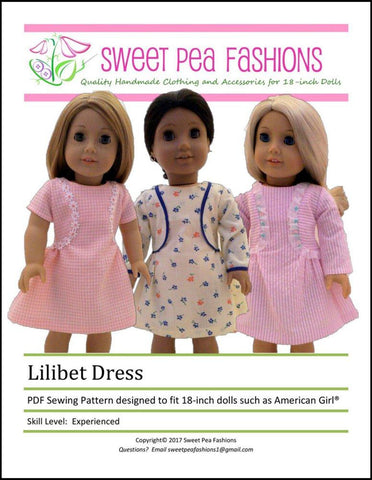 "Sweet Pea Fashions 18 Inch Modern Lilibet Dress 18"" Doll Clothes Pattern Pixie Faire"