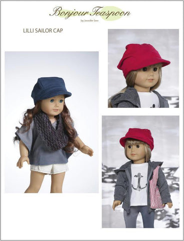 "Lilli Sailor Cap Pattern for Kids and 18"" Dolls"