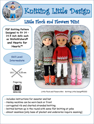 "Knitting Little Designs WellieWishers Little Flock and Flowers Mini 14-14.5"" Doll Clothes Knitting Pattern Pixie Faire"