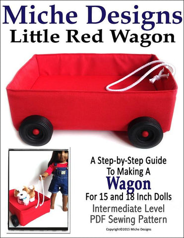 "Miche Designs 18 Inch Modern Little Red Wagon 18"" Doll Accessories Pixie Faire"