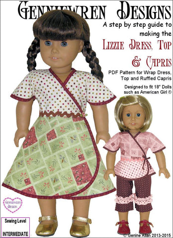 "Lizzie - Wrap Dress, Top & Capris 18"" Doll Clothes Pattern"