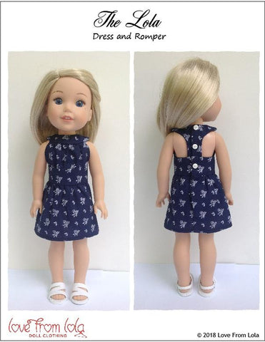 "The Lola Dress and Romper 14-14.5"" Doll Clothes Pattern"