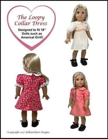 "Loopy Collar Dress 18"" Doll Clothes Pattern"