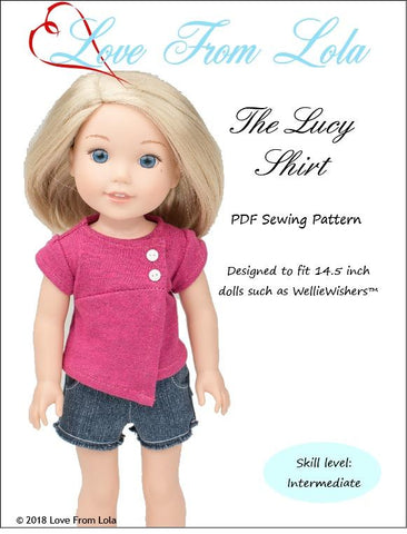"Love From Lola WellieWishers The Lucy Shirt 14.5"" Doll Clothes Pattern Pixie Faire"
