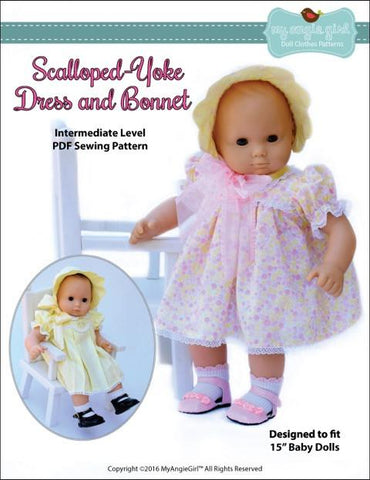 "My Angie Girl Bitty Baby/Twin Scalloped-Yoke Dress and Bonnet 15"" Baby Doll Clothes Pixie Faire"