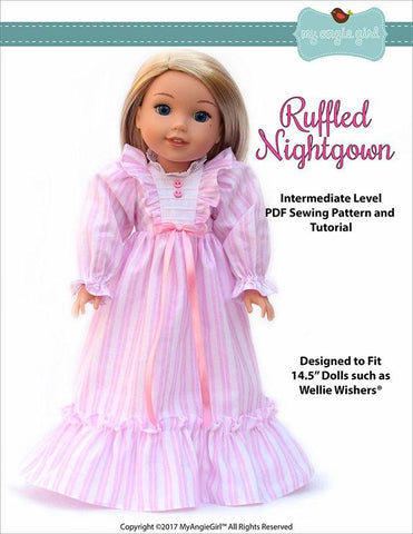 "Ruffled Nightgown 14.5"" Doll Clothes Pattern"