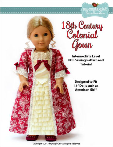 "My Angie Girl 18 Inch Historical 18th Century Colonial Gown 18"" Doll Clothes Pattern Pixie Faire"