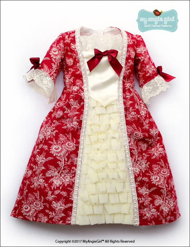 My Angie Girl 40th Century Colonial Gown Doll Clothes Pattern 40 Cool Colonial Dress Patterns