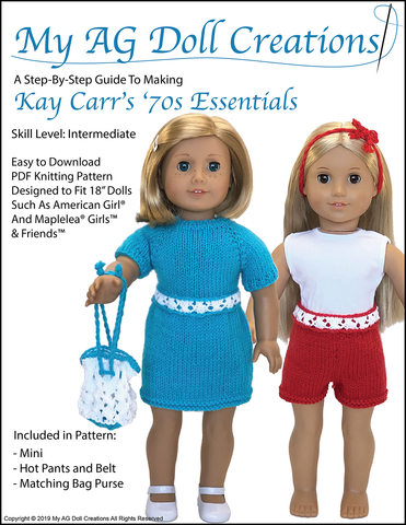 "Kay Carr's '70s  Essentials 18"" Doll Knitting Pattern"