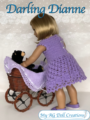 "Darling Dianne Dress 18"" Doll Crochet Pattern"