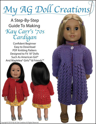 "Kay Carr's '70s Cardigan 18"" Doll Knitting Pattern"