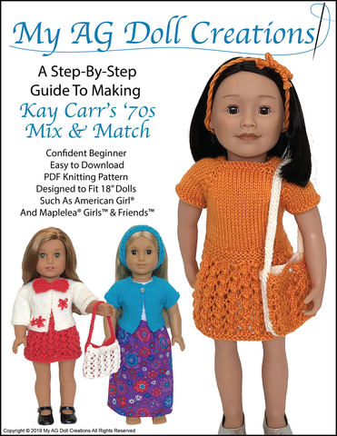 "Kay Carr's '70s Mix and Match 18"" Doll Knitting Pattern"