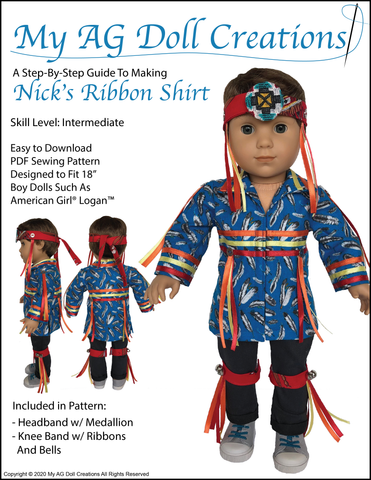 "Nick's Ribbon Shirt 18"" Doll Clothes Pattern"