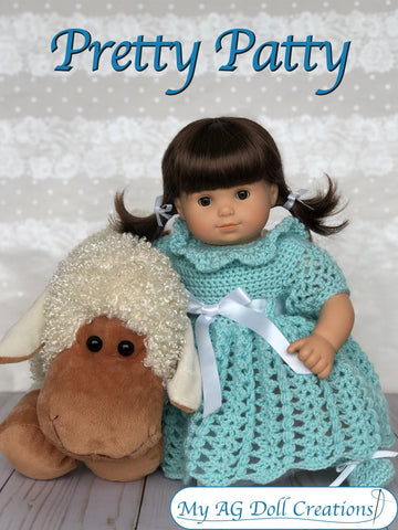 "Pretty Patty Dress and Booties 15"" Baby Doll Clothes Crochet Pattern"