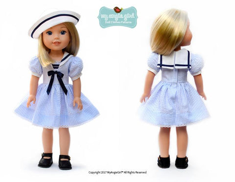 "My Angie Girl WellieWishers Sailorette 14.5"" Doll Clothes Pattern Pixie Faire"