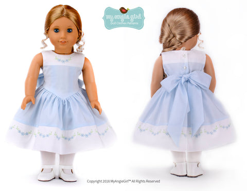 "The Lovely V-Waist Dress 18"" Doll Clothes Pattern"