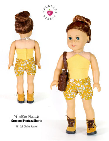 "123 Mulberry Street 18 Inch Modern Malibu Beach Cropped Pants 18"" Doll Clothes Pattern Pixie Faire"