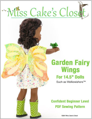 "Miss Cake's Closet WellieWishers Garden Fairy Wings 13-14.5"" Doll Accessory Pattern Pixie Faire"