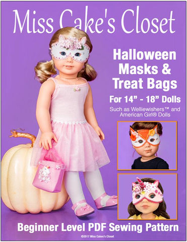 "Miss Cake's Closet 18 Inch Modern Halloween Masks and Trick or Treat Bags 14-18"" Doll Accessory Pattern Pixie Faire"