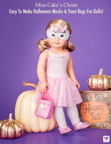 "Halloween Masks and Trick or Treat Bags 14-18"" Doll Accessory Pattern"