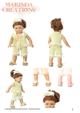 "Summer Jammies 18"" Doll Clothes Knitting Pattern"