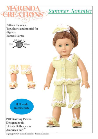 "Marinda Creations Knitting Summer Jammies 18"" Doll Clothes Knitting Pattern Pixie Faire"