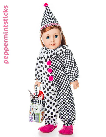 18 inch doll Clown Costume and Pet Costume Peppermintsticks