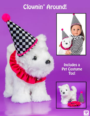 18 inch doll clown costume and pet costume fits American Girl