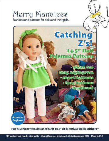 "Catching Z's 14.5"" Doll Clothes Pattern"