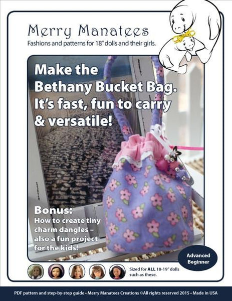Merry Manatees Bethany Bucket Bag Doll Clothes Pattern 18