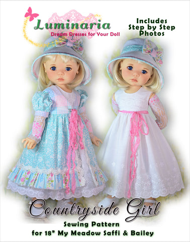 "Countryside Girl Pattern for 18"" My Meadow Saffi and Bailey Dolls"