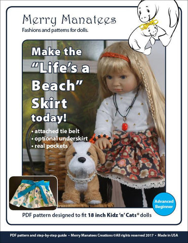 Life's a Beach Skirt Pattern for Kidz N Cats Dolls