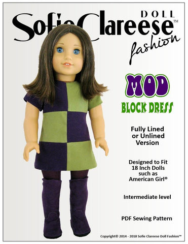 "Mod Block Dress 18"" Doll Clothes Pattern"