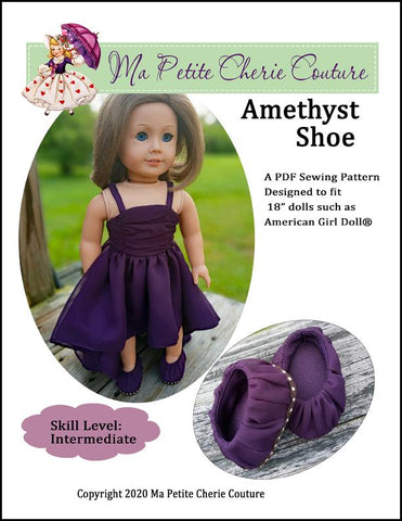 "Mon Petite Cherie Couture Shoes Amethyst Shoe 18"" Doll Shoes Pixie Faire"