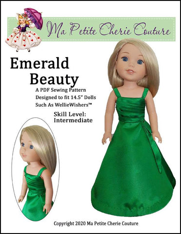 "Emerald Beauty Dress 14.5"" Doll Clothes Pattern"