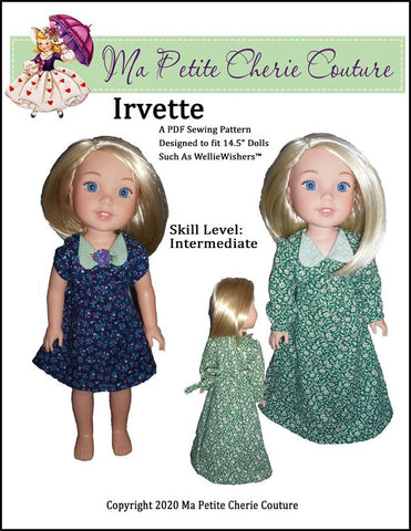 "Irvette Dress 14.5"" Doll Clothes Pattern"