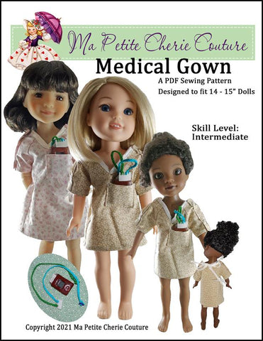 "Mon Petite Cherie Couture WellieWishers Medical Gown 14-15"" Doll Clothes Pattern Pixie Faire"