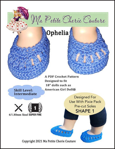 "Mon Petite Cherie Couture Crochet Ophelia Shoes 18"" Doll Crochet Pattern Pixie Faire"