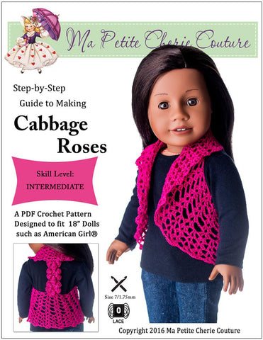 Cabbage Roses Vest Crochet Pattern For 18 inch Dolls