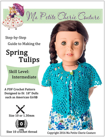 Spring Tulips Shrug 18 Inch Doll Clothes Crochet Pattern