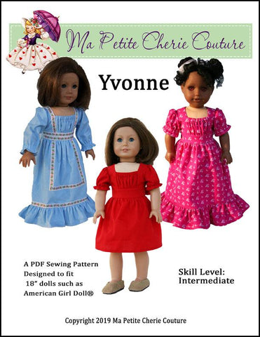 "Yvonne 18"" Doll Clothes Pattern"