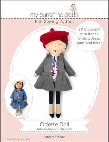 "My Sunshine Dolls Cloth doll Odette Doll 23"" Cloth Doll Pattern Pixie Faire"