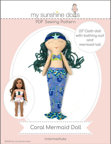 "Coral Mermaid Doll 23"" Cloth Doll Pattern"