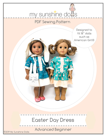 "My Sunshine Dolls 18 Inch Modern Easter Day Dress for 18"" Doll Clothes Pattern Pixie Faire"