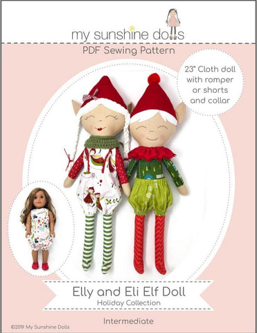 "Elly and Eli Elf Doll 23"" Cloth Doll Pattern"
