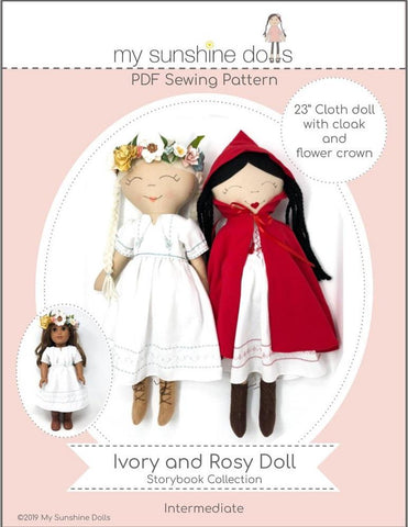"My Sunshine Dolls Cloth doll Ivory and Rosy Doll 23"" Cloth Doll Pattern Pixie Faire"