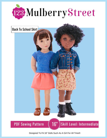 "Back to School Skirt Pattern For 16"" A Girl For All Time Dolls"