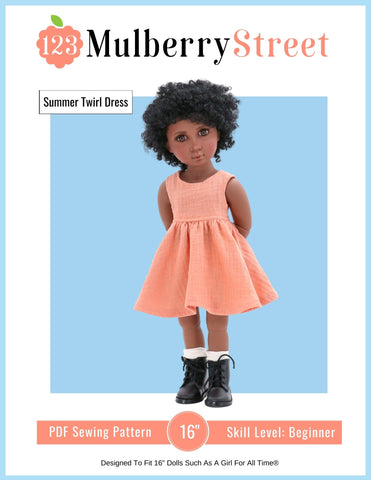 "Summer Twirl Dress Pattern For 16"" A Girl For All Time Dolls"